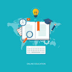Internet education flat illustration
