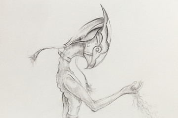 allien hold sand, original drawing on paper. transience and time concept.