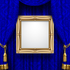 Blue ornamental curtain background with a gold classic frame