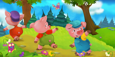 Cartoon scene three pig brother going on a trip on a hill - illustration for children