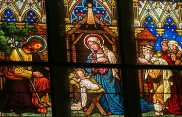 Wall Mural - Stained Glass - Epiphany Scene