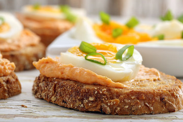 Sandwiches with salmon paste and egg