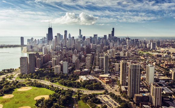 Chicago Downtown Skyline aerial view