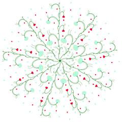 Round pattern. Circular floral pattern. Vector illustration.