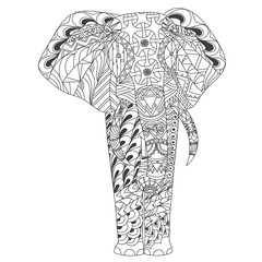 Patterned elephant zentangle inspired style