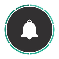 Bell Simple flat white vector pictogram on black circle. Illustration icon