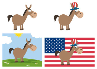 Democrat Donkey Cartoon Character. Set Collection Isolated On White