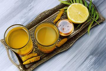 Spicy healthy Haldi or Turmeric, lemon and pepper antioxidant dr