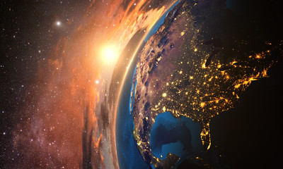 3D rendering of detailed colorful Earth,  highly detailed planet earth in the evening sunset over USA