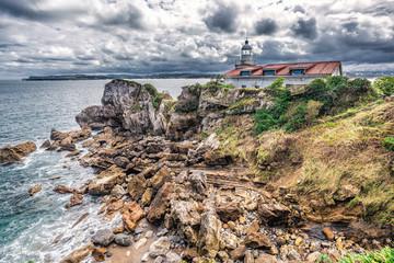 Dramatic view of Península de La Magdalena, Bay of Santander, cultural heritage site, Spain.