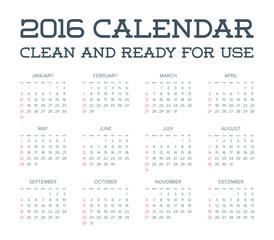 2016 Calendar. Abstract. Week Starts from Sunday. Vector illustr