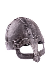 Old forged Viking helmet on a white background.