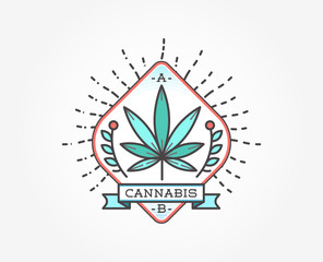 Medical Cannabis Marijuana Sign or Label Template in Vector. Can