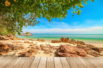 Beautiful beach of south of Thailand with wooden under for put your products.