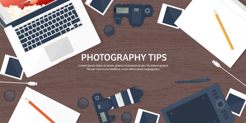 Photographer equipment on a table. Photography tools, photo editing, photoshooting flat background.  Digital photocamera with lens. Vector illustration. Wood. Wooden.