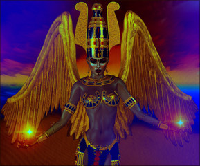 Angel with gold wings, fantasy image with Egyptian accents. Powerful image for myth, spirituality and more!