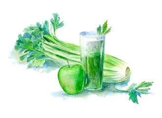 Fruit and vegetable green smoothie.Celery and apple juice.Food picture.Fruit cocktail for healthy life, diet.Watercolor hand drawn illustration.