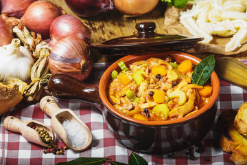 Tripe Florentine, typical Italian, Polish, French food. On a rus