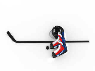 Hockey equipment - blue and red skates with black helmet - top view