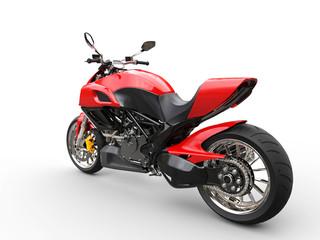 Red sports bike - studio lighting - rear wheel focus view