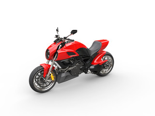 Red sports motorcycle - top perspective shot - isolated on white background