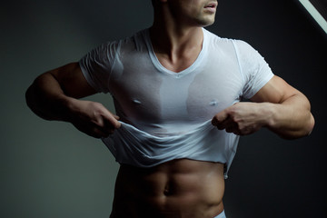 Muscular man with bare torso