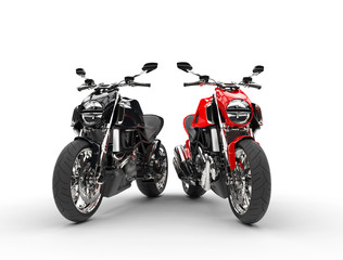 Black and red sports bikes - isolated on white background