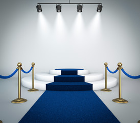 Blue carpet with podium