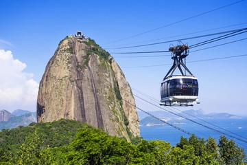 Cable car at Sugar Loaf mountain in Rio de Janeiro, Brazil. Wall mural