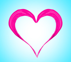Pink heart made of paint splash on blue background