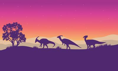 Parasaurolophus in hills scenery