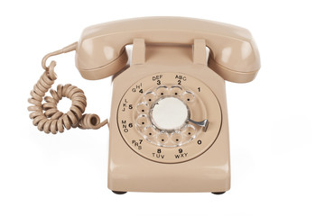 retro rotary dial phone on white