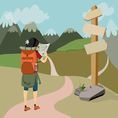 hiker with backpack on mountain trail cheks map