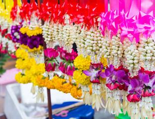 Garland fresh flower for selled at market Thailand.