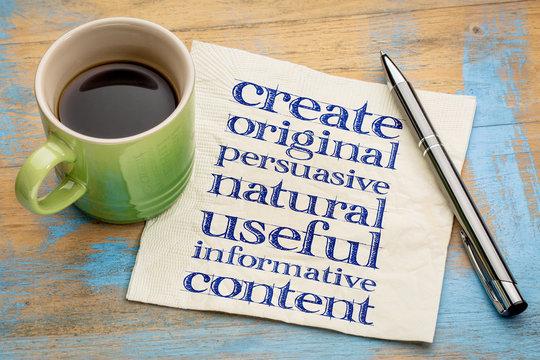 write original, useful, informative content