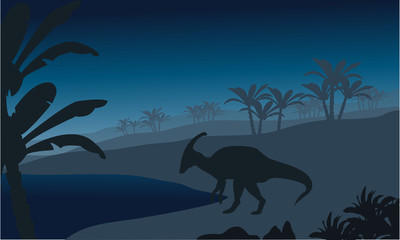 Silhouette of single parasaurolophus