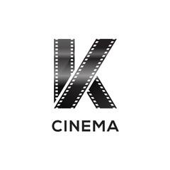 Abstract letter K logo for negative videotape film production