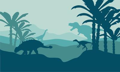 Silhouette of eoraptor and ankylosaurus