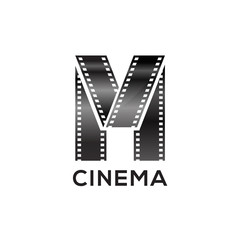 Abstract letter M logo for negative videotape film production