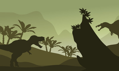Silhouette of spinosaurus and T-Rex