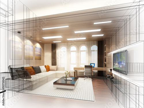 sketch design of living room 3dwire frame render imagens e fotos de stock royalty free no. Black Bedroom Furniture Sets. Home Design Ideas