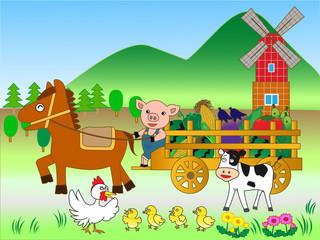 Poster Ranch 農園の野菜の収穫