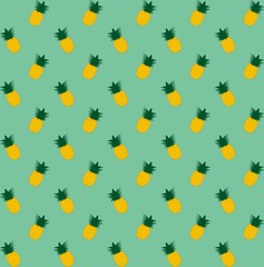 Pineapple seamless pattern. Vintage pineapple seamless. Cartoon pineapple on a green background. Simple vector background. Cute summer pattern. Seamless textile illustration in vintage style.