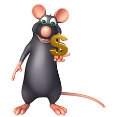 Rat cartoon character with doller sign
