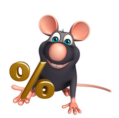 Rat cartoon character with percentage sign
