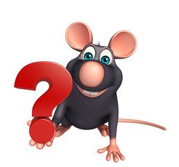 Rat cartoon character with question mark sign