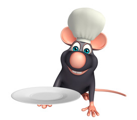 Rat cartoon character  with chef hat and dinner plate