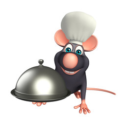 Rat cartoon character  with chef hat and cloche