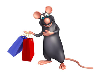 Rat cartoon character with shopping bag