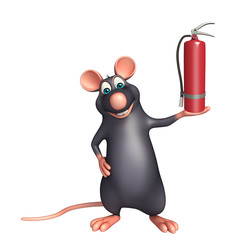 Rat cartoon character fire extinguisher